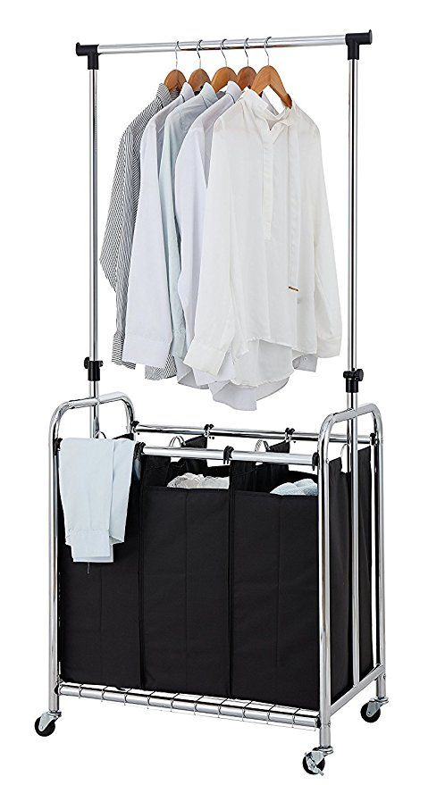 Finnhomy 3 Bag Rolling Laundry Sorter Cart With Hanging Bar Heavy Duty Wheels Larger Bags Chrome Laundry Sorter Heavy Duty Wheels Hanging Bar
