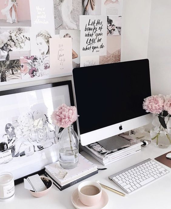 Black, white and pink desk arrangement