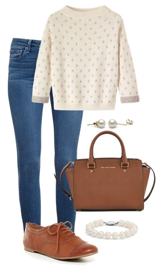 Suéter, jeans, oxford, bolsa marrom