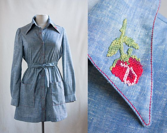 Vintage 70s Chambray Dress / Embroidered Rose by threadechoes, $48.00