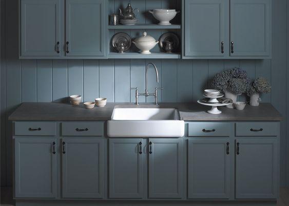 Self Trimming Farmhouse Sink : Kohler Whitehaven self-trimming apron-front single-basin sink ...