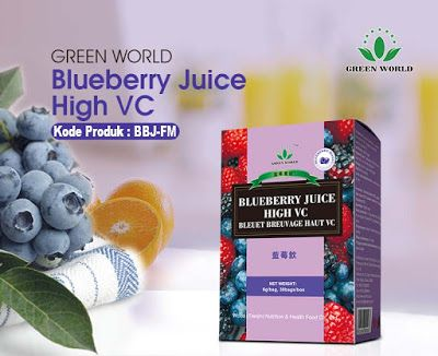 Blueberry Juice Green World terbuat dari blueberry asli. Blueberry merupakan makanan bergizi rendah kalori, dan jus blueberry yang dibuat hanya dari blueberry mengandung banyak manfaat gizi yang sama dari blueberry baku.  Menurut Departemen Pertanian AS, 1 cangkir blueberry mentah mengandung 84 kalori, dan kurang dari 1 gram lemak. Satu porsi juga mengandung 3,6 gram serat makanan dan sedikit lebih dari 21 gram karbohidrat. Blueberry merupakan sumber yang baik dari vitamin C, vitamin K…