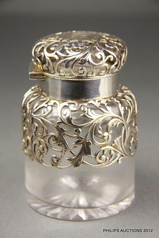 Art Nouveau, American sterling silver-mounted glass perfume bottle
