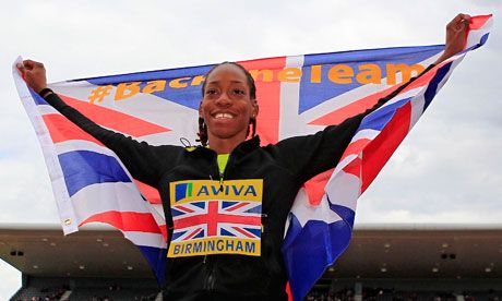 Shara Proctor celebrates qualifying for the London Olympics after winning the long jump at the UK Trials in Birmingham.