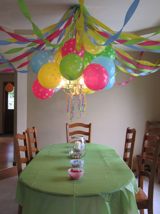 Birthday party polka dot balloons streamers and glolite for Balloon and streamer decoration ideas