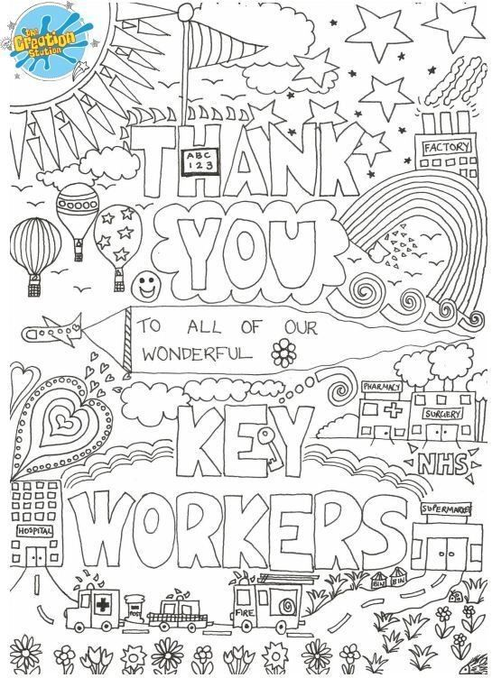 Thank You Keyworkers Colouring Anti Stress Coloring Book Inspirational Quotes Coloring Free Coloring
