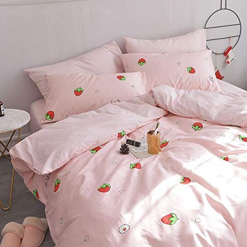 Micbridal Kawaii Strawberry Bedding Set Queen 1 Strawberry Duvet Cover 2 Pillowcases Pink Soft 100 Co Twin Bed Comforter Sets Bedding Set Bed Comforter Sets
