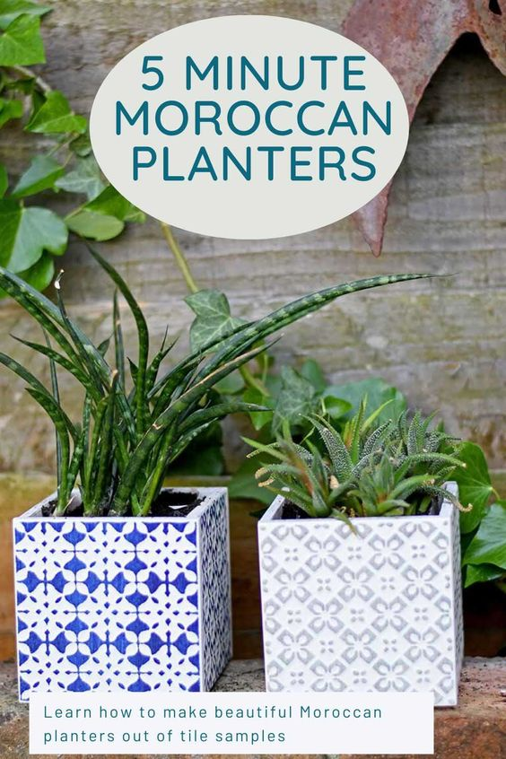 These ceramic tile Moroccan planters only take five minutes to make.  Use sample tiles or tiles leftover from any DIY.  #ceramicplanters #planters