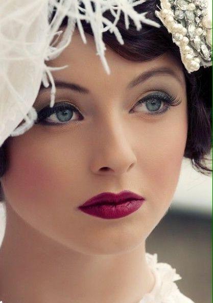 Pretty, soft makeup with a raspberry lip
