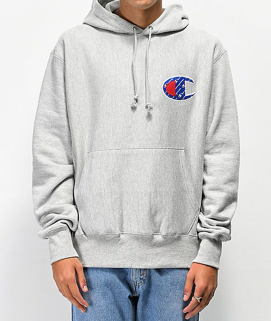 Champion Reverse Weave Sublimated Grey Hoodie | Hoodies