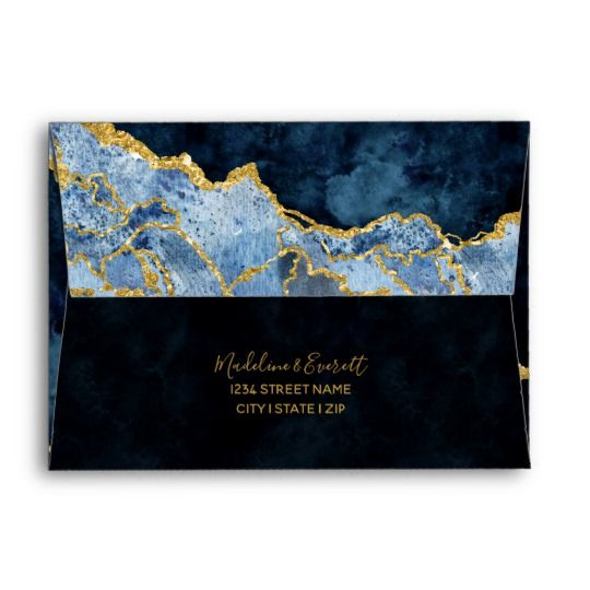 Navy Blue Gold Foil Gilded Agate Marble Wedding Envelope Zazzle Com Marble Wedding Wedding Envelopes Blue Wedding Invitations