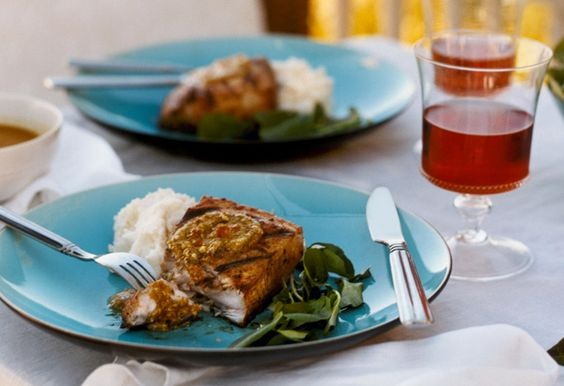 Mahimahi with Garlic-Yogurt Potatoes and Almond-Orange Pesto #oprah