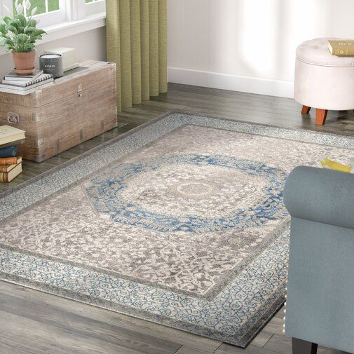 Statham Oriental Light Grey Blue Area Rug With Images Blue
