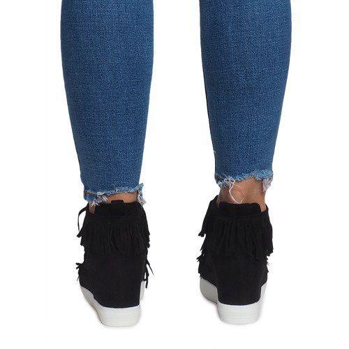 Sneakersy Na Koturnie Z Fredzlami Boho At 0613 1 Czarny Czarne Wedge Sneakers Suede Wedges Trainers Women