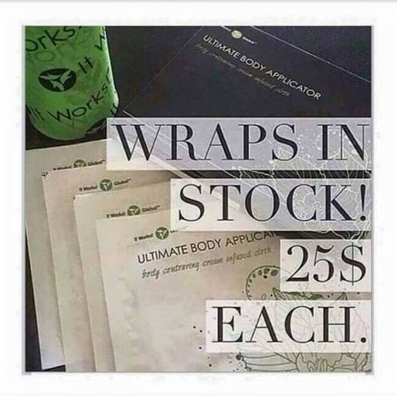 I have wraps in stock if you like to just try one for $25 let me know! www.jaynegustafson.myitworks.com 402-960-4911