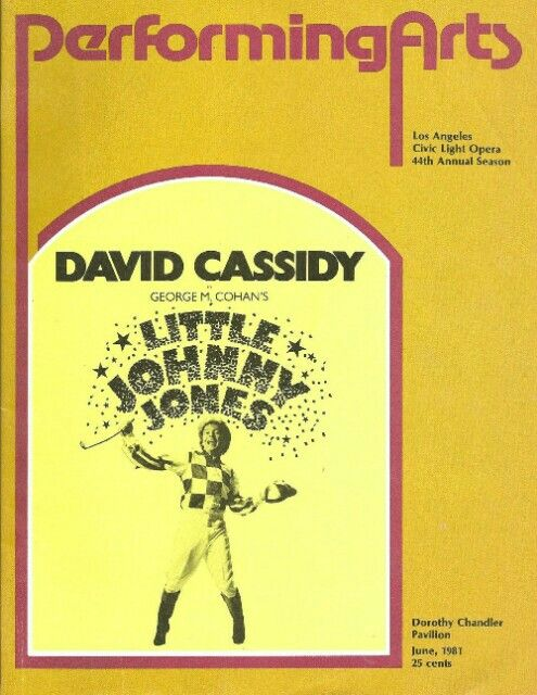Theatre Programme For The Los Angeles Revival Tryout Production Of The George M Cohan Musical Little Johnny Jones David Cassidy Chandler Theatre Programme