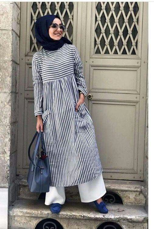 Genc Tesettur Islami Giyim Cizgili Elbise Islami Moda