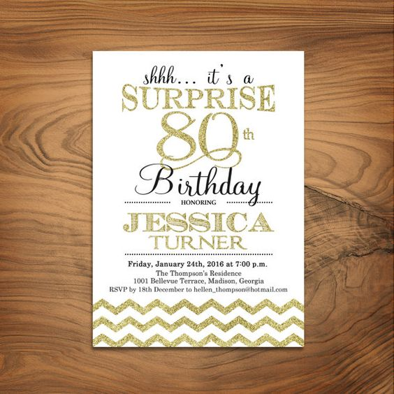 Printable 80th Birthday Invitations Delli Beriberi Co