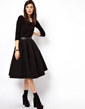 Midi A Line Skirt