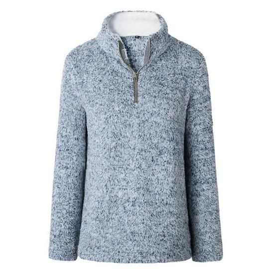 Etecredpow Womens Long Sleeve Pocket Fluffy Autumn Winter Zipper Sweatshirt