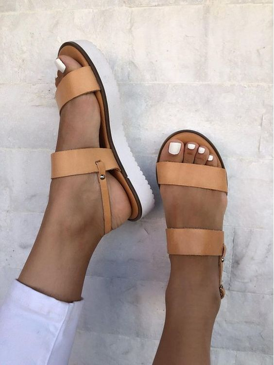 LEATHER SANDALS :: Brown Leather Sandals White Sole - Christina Christi Handmade Products