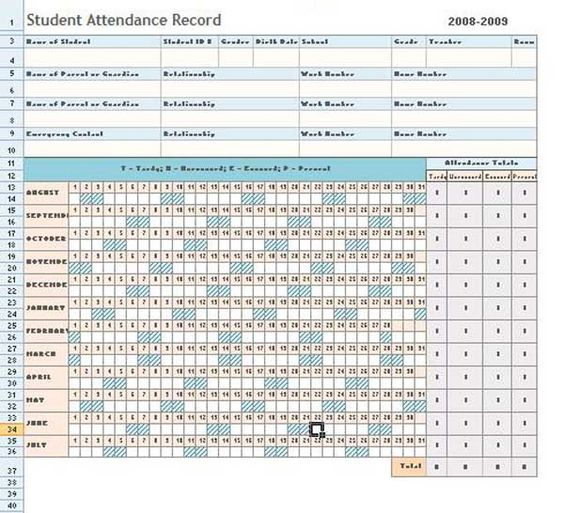 Attendance Sheet Excel Template Daily Microsoft Templates - microsoft office inventory template