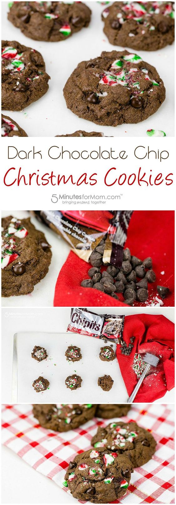 Dark Chocolate Chip Christmas Cookies Recipe #chocolatechipcookies #cookies #cookierecipe #ad