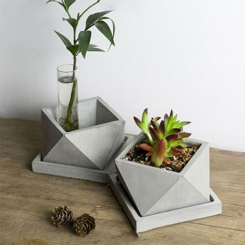 These Cement Flower Pots Diy Cubism Designs Will Make You Look