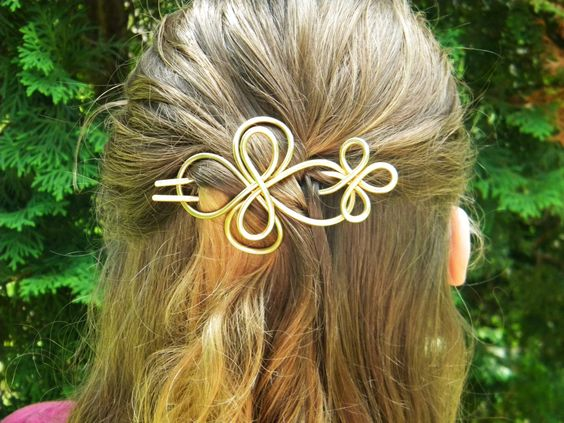 Brass+Hair+Fork+Hair+Slide+Hammered+Brass+Hair+by+ElizabellaDesign,+$25.00