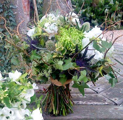 Twigs Fl Arrangements Ideas Bouquet Of Green Blue And White