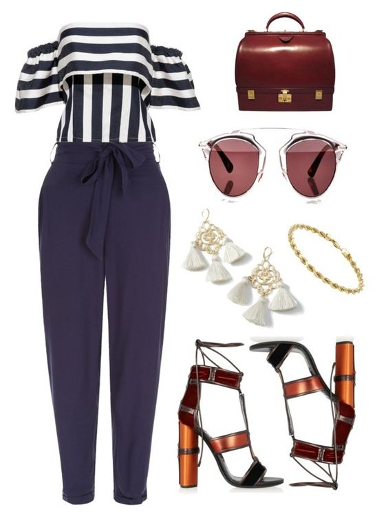 """nautica"" by jazzley-24 ❤ liked on Polyvore featuring New Look, Tom Ford, Hermès, Christian Dior, Marte Frisnes, John Lewis and stripedshirt"