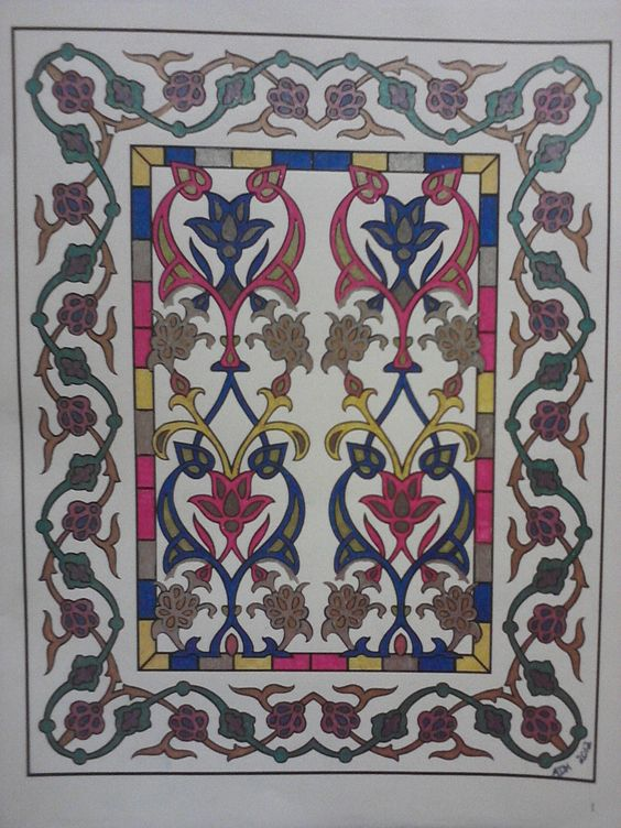 from Decorative Tile Designs coloring book, Dover Pub. Gel pens on two-sided coloring book page. ADH 2012