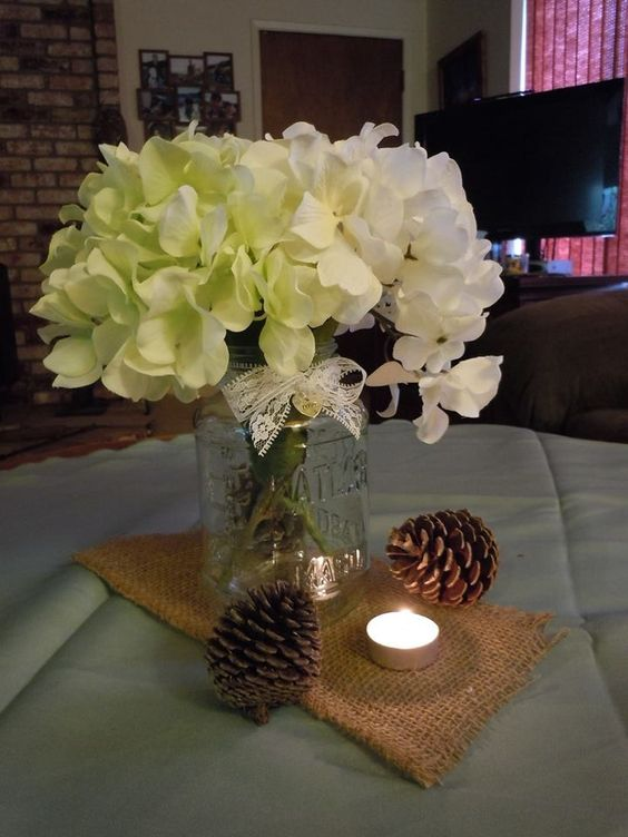 Diy rustic center pieces light green white silk