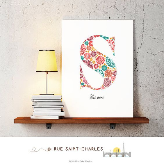 baby girl nursery art monogram logo by RueSaintCharles on Etsy