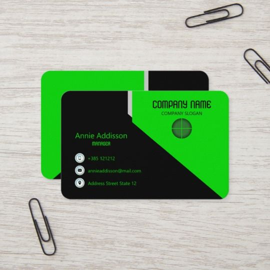 Vivid Bright Green Geometric Business Card Zazzle Co Uk With