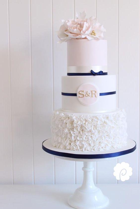 Blush and navy wedding cake - by Poppy Pickering