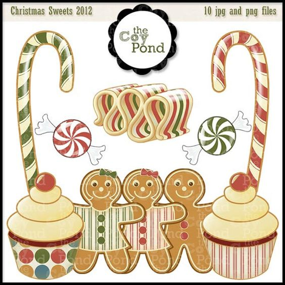 Christmas Clip Art  Vintage Sweets   clip art by TheCoyPond #christmas #clipart