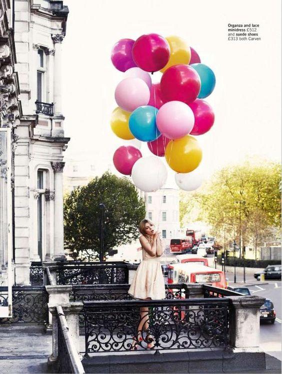 The joy of great big balloons!  Clemence Poesy: Glamour UK, February '12