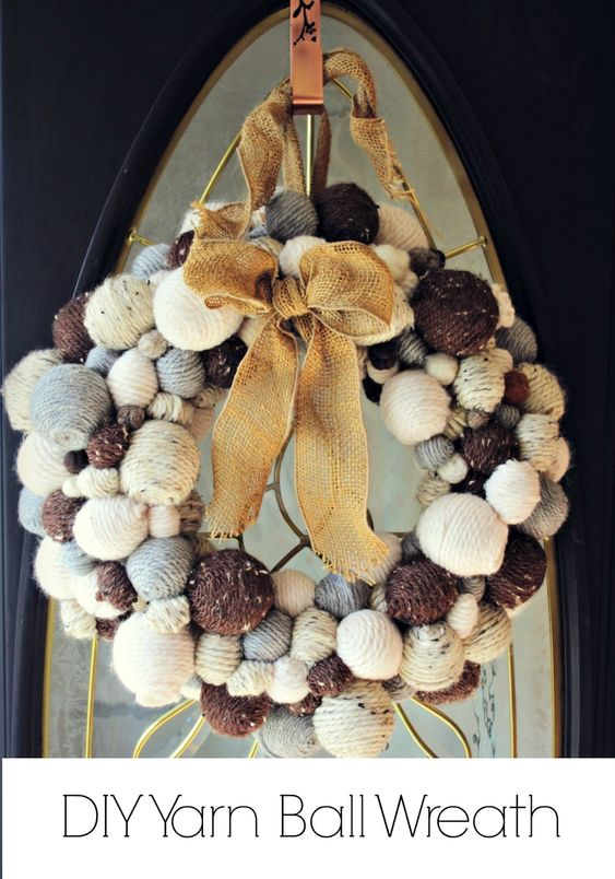 Is there such a thing as having too many balls? A cozy, sweet, yarn ball wreath tutorial | KnockitoffKim
