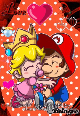 {Baby Peach and Baby Mario in love Blingee}*!!!