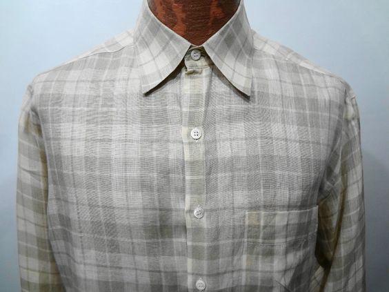 Barneys NY Mens M Beige & Green Plaid Long-Sleeve Linen Shirt Made in Italy #BarneysNewYork #ButtonFront