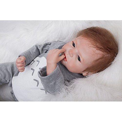 HOOMAI Reborn beb/é realista mu/ñeca ni/ños vinilo suave silicona rel reborn baby doll peque/ños Magnetismo Juguetes boy recien nacidos ojos abiertos 55CM 22inch