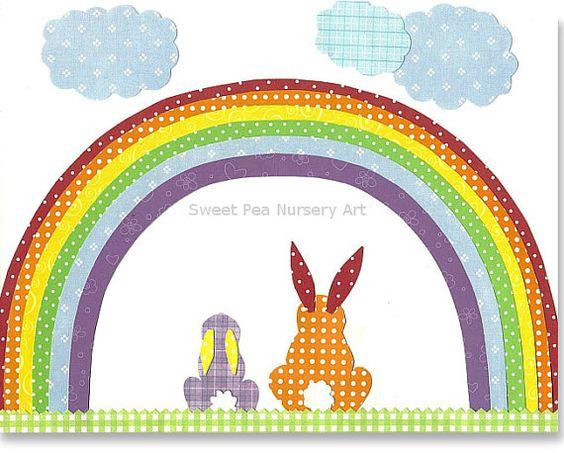 Guardería arco iris, vivero de conejos, conejitos de vivero, género neutro vivero Decor, 8 x 10 o 11 x 14, azul, verde, amarillo, rojo, naranja, púrpura