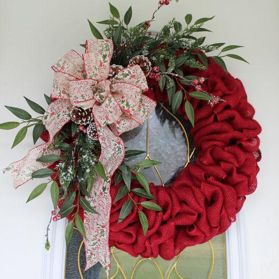 Winter Wreath Christmas Wreath Burlap by PrissyPetalsBoutique