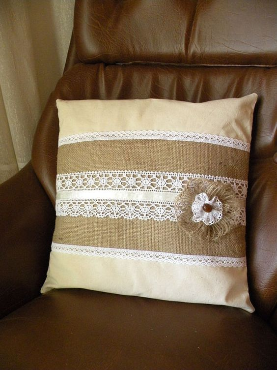 Throw Pillows With Lace : Lace pillows, Burlap throw pillows and Burlap pillows on Pinterest