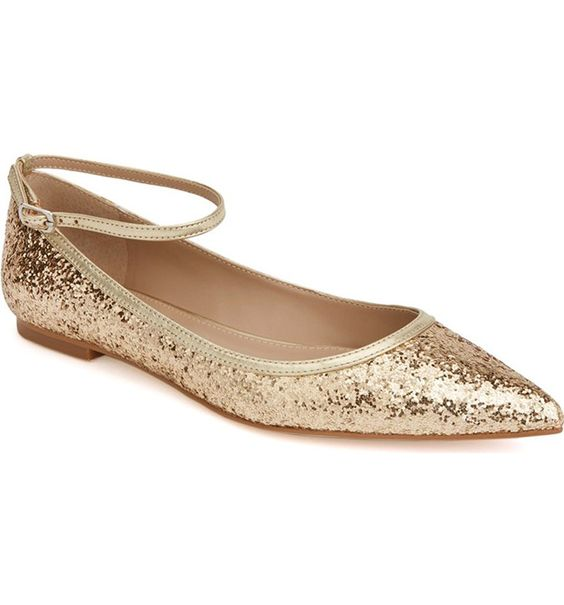 Shoes of Prey Glitter Gold Flats: