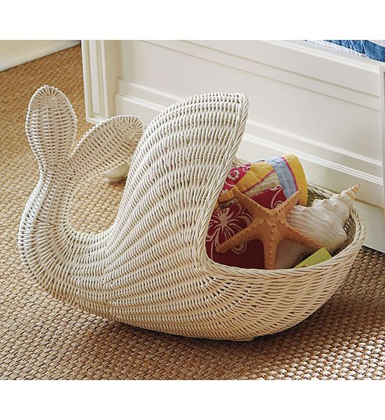 Give toys and stuffed animals a proper home (in the whale's belly) with Pottery Barn Kids's rattan whale basket ($120).