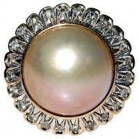14K Gold Pearl & Diamond Ring