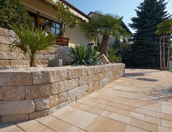 pflasterstein mediterran Terrassengestaltung mit La Tierra - mauersteine antik diephaus