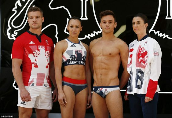 (From left) rugby sevens playerTom Mitchell, Ennis-Hill, Daley, andWelsh Paralympic sprinter Olivia Breeze model the new attire